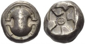 Boeotia, Thebes. Circa 480-460 BC. Stater (Silver, 16mm, 11.87 g). Boeotian shield with rim divided into eight compartments. Rev. Incuse square with a...