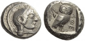 ATTICA, Athens. Circa 500/490-485/0 BC. Tetradrachm (Silver, 23mm, 17.48 g 10). Head of Athena to right, wearing crested Attic helmet and circular ear...