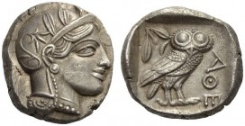 ATTICA, Athens. Circa 440s-430s BC. Tetradrachm (Silver, 23mm, 17.19 g 3). Head of Athena to right, wearing crested Attic helmet adorned with three ol...
