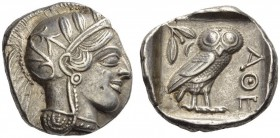 ATTICA, Athens. Circa 430s BC. Tetradrachm (Silver, 25mm, 17.19 g 5). Head of Athena to right, wearing disc earring, pearl necklace and a crested Atti...