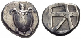 ISLANDS off ATTICA, Aegina. Circa 480-457 BC. Stater (Silver, 21mm, 12.28 g). Sea turtle with line of pellets down the back of its shell. Rev. Square ...