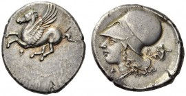CORINTHIA, Corinth. Circa 375-300 BC. Stater (Silver, 25mm, 8.60 g 3). Ϙ Pegasus flying left with pointed wing. Rev. Α Ρ Head of Aphrodite to left, we...