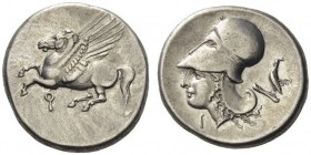 CORINTHIA, Corinth. Circa 375-300 BC. Stater (Silver, 21mm, 8.52 g 9). Ϙ Pegasos flying left with straight wings. Rev. Head of Aphrodite to left, wear...