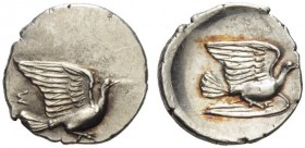 Sikyonia, Sikyon. Circa 360s-340s/330s BC. Obol (Silver, 11mm, 0.63 g 3). Dove alighting right; above tail, Σ. Rev. Dove flying right. BCD 255.3. A ra...
