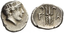 ELIS, Olympia. 92nd Olympiad, 412 BC. Obol (Silver, 10mm, 0.89 g 9). Head of Hera to right, wearing a stephane ornamented with two palmettes and, betw...