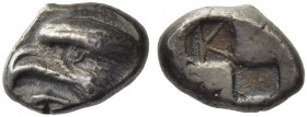 Paphlagonia, Sinope. Circa 425-410 BC. Drachm (Silver, 6.05 g). Head of a sea eagle to left; below, dolphin to left. Rev. Quadripartite incuse square ...