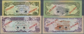 Afghanistan: set of 2 SPECIMEN banknotes containing 10 and 20 Afghanis ND P. 53As, 55s, both in condition: UNC. (2 pcs)