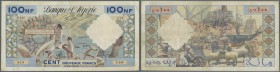 Algeria: 100 Nouveaux Francs 1961 P. 121b, strong paper, original colors, 2 small holes, no tears, condition: F.
