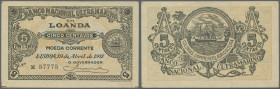 Angola: 5 Centavos 1918 P. 49, vertical fold, handling in paper, condition: VF+.