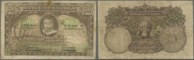 Angola: Banco de Angola 20 Angolares 1927, P.73, larger taped tear at upper margin, stained paper and some folds. Condition: F/F-