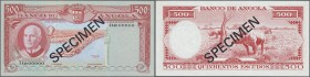 Angola: 500 Escuods 1970 Specimen P. 97s, zero serial numbers, black Specimen overprint in condition: UNC.