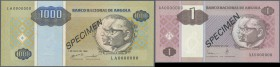 Angola: set of 2 Specimen notes containing 1 Angolar 1999 and 1000 Angolares 1995 P. 135s, 143s, in condition: UNC. (2 pcs)