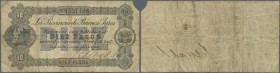 Argentina: Banco & Casa de Moneda - Provincia de Buenos Ayres 10 Pesos April 1st 1867, P.S473, toned paper with several folds, tiny hole at center and...