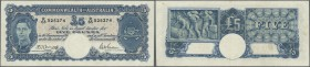 Australia: 5 Pounds ND(1941) P. 27b, folds in paper, pressed, no holes or tears, still strongness in paper, condition: F+.