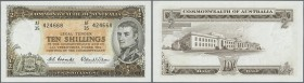 Australia: set of 2 notes 10 Shillings ND KG VI, one pressed (VF) and one in condition aUNC, nice set. (2 pcs)