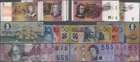 Australia: set of 22 banknotes from different series, different denominations from 1 to 50 Dollars, including many 5 Dollar Polymer notes but also sev...