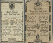 Austria: Wiener Stadt-Banco Zettel, pair with 5 and 10 Gulden 1806, P.A38a, A39a. 5 Gulden in worn condition with several folds and creases and small ...