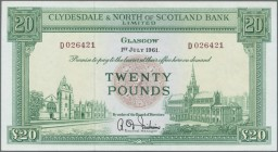 Scotland: Clydesdale & North of Scotland Bank Ltd 20 Pounds 1961 P. 193b, 2 light vertical folds, crisp paper and bright colors, condition: VF+ to XF-...