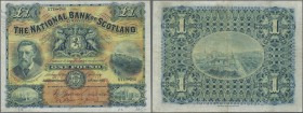 Scotland: The National Bank of Scotland 1 Pound 1918, P.248a, several folds and creases, lightly stained paper and annotations on front. Condition: F+