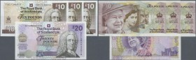 "Scotland: set of 4 notes containing 3x 10 Pounds 2012 ""Diamond Jubilee"" Commemorative P. 368 and 1x 20 Pounds 2000 ""100th birthday of the Queen Mother..."