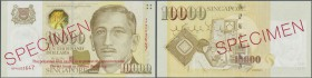 "Singapore: 10.000 Dollars ND(1999) SPECIMEN, P.44s with the original plastic cover from the bank with text ""The polyester film casing is to protect th..."