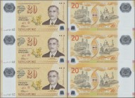 Singapore: set of 3 uncut notes 20 Dollars 2007 P. 53 in condition: UNC.