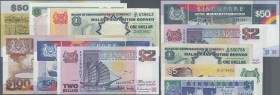 Singapore: set of 13 mostly different banknotes containing 50 Dollars Polymer 1990 (UNC), 1 Dollar Orchid (aUNC), 5 Dollars Orchid Series (UNC), 5 Dol...