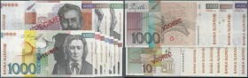 Slovakia: set of 6 Specimen notes from 10 to 10.000 Tolarjev (1992-1997) in condition: aUNC / UNC. (6 pcs)