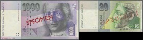 Slovakia: set of 2 Specimen notes containing 20 and 1000 Korun 1995 P. 20s, 24s, first in UNC, second in VF+. (2 pcs)