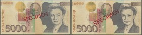 Slovakia: set of 2 Specimen notes containing 5000 Tolarjev 1997 in a design at upper left from portrait that was originally not planned for this 1997 ...
