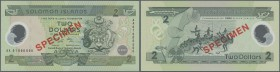 Solomon Islands: 2 Dollars ND Specimen P. 23s Polymer Commemorative in condition: UNC.