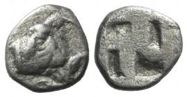 Thraco-Macedon Region (?), c. 5th century BC. AR Obol (7mm, 0.46g). Forepart of goat r., head reverted. R/ Quadripartite incuse square. SNG ANS -. VF