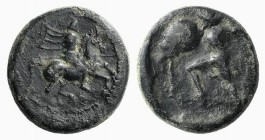Thessaly, Pelinna, c. 400-375 BC. Æ Chalkous (13mm, 2.21g, 6h). Horseman r., raising spear to strike. R/ Warrior advancing l., wearing petasos, holdin...