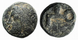 Asia Minor, Uncertain mint, c. 5th-4th century BC. Æ (8mm, 1.32g). Laureate head l. R/ Key or hook-like symbol. Green patina, near VF