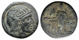 Pontos, Amisos, c. 85-65 BC. Æ (28mm, 18.30g, 12h). Struck under Mithradates VI. Helmeted head of Athena r. R/ Perseus standing facing, holding harpa ...