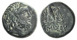Pontos, Amisos, c. 85-65 BC. Æ (19mm, 8.34g, 12h). Struck under Mithradates VI. Laureate head of Zeus r. R/ Eagle standing l., head r., on thunderbolt...