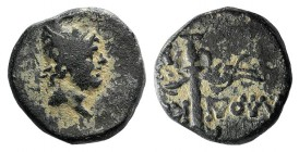 Pontos, Laodikeia, c. 105-85 BC. Æ (12mm, 2.18g, 12h). Struck under Mithradates VI. Head of Perseus r., wearing winged Phrygian helmet. R/ Winged harp...
