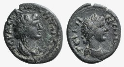 Mysia, Germe. Pseudo-autonomous, c. AD 100-130. Æ (16mm, 2.59g, 12h). Laureate and draped bust of the Senate r. R/ Laureate and draped bust of Apollo ...