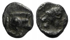 Mysia, Kyzikos, c. 450-400 BC. AR Hemiobol (6mm, 0.30g, 7h). Forepart of boar r.; tunny to l. R/ Head of roaring lion l., retrograde K to l.; all with...