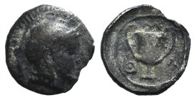 Lesbos, Methymna, c. 450/40-406/379 BC. AR Obol (8mm, 0.39g, 6h). Helmeted head of Athena r. R/ Kantharos; M-A-Θ counterclockwise around. Franke 12; H...