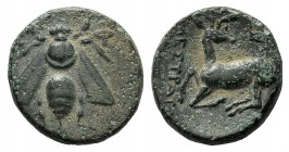 Ionia, Ephesos, c. 390-320/00 BC. Æ (14mm, 2.66g, 12h). […]estratos, magistrate. Bee. R/ Stag kneeling l., head r.; astragalos above. Cf. SNG Copenhag...