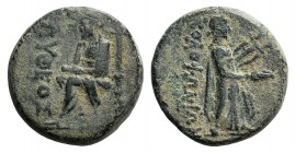 Ionia, Kolophon, c. 50 BC. Æ Hemiobol (18mm, 5.51g, 12h). Pytheos, magistrate. The poet Homer seated l., holding scroll and resting chin on r. hand. R...