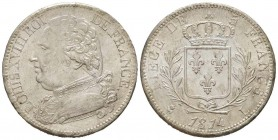 France, Louis XVIII 1815-1824    5 Francs, Bayonne, 1814 L, AG 25 g.                