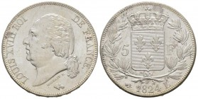 France, Louis XVIII 1815-1824    5 Francs, Bayonne, 1824 L, AG 25 g.                