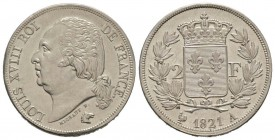 France, Louis XVIII 1815-1824    2 Francs, Paris, 1821 A, AG 10 g.                