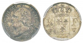 France, Louis XVIII 1815-1824    1/4 Franc, Lille, 1817 W, AG 1.25 g.                
