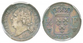 France, Louis XVIII 1815-1824    1/4 Franc, Lille, 1823 W, AG 1.25 g.                