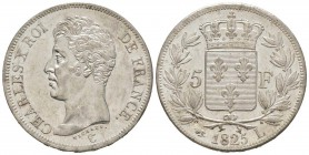 France, Charles X 1824-1830      5 Francs, Bayonne, 1825 L, AG 25 g. 