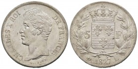 France, Charles X 1824-1830      5 Francs, Bayonne, 1827 L, AG 25 g. 