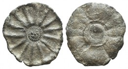 Celtic Lead Token, 2nd-1st century BC (41mm, 15.40g). Central pattern within star. R/ Central rosette within 14-rayed star. Small hole